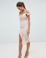 Love Triangle Bardot Tie Detail Lace Dress – nude fitted off the shoulder bodycon – front slit party dresses