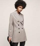Reiss LUELLA DOUBLE-BREASTED COAT LIGHT GREY / elegant short coats