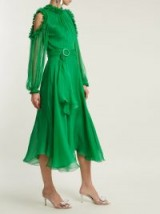 MARIA LUCIA HOHAN Maira ruffle-trimmed silk-mousseline dress ~ floaty emerald-green cold shoulder dresses