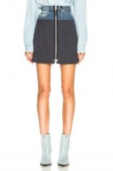 MAISON MARGIELA Denim & Knit Zip Front Mini Skirt | short zipped skirts