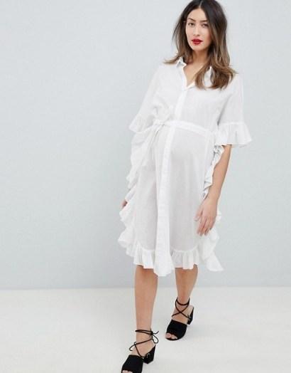 Mamalicious Longline Frill Shirt Dress in White – ruffled pregnancy dresses - flipped
