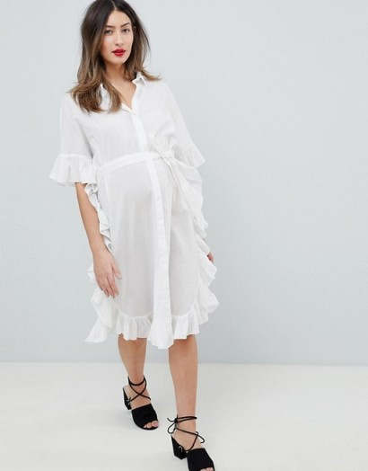 Mamalicious Longline Frill Shirt Dress in White – ruffled pregnancy dresses