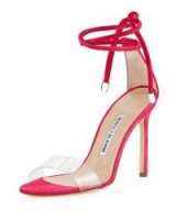 Manolo Blahnik Estro Leather & PVC Ankle-Wrap Sandal ~ transparent barely there sandals