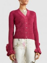 MARCO DE VINCENZO‎ Embellished Metallic Cotton-Blend Cardigan ~ pink ruffled cuff cardigans