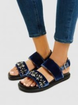 MARNI‎ Embellished Velvet Sandals ~ luxe chunky flats