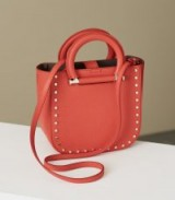 REISS MAYFAIR MINI LEATHER TOTE RED ~ chic studded top handle bags