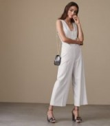 Reiss MEA JUMPSUIT WIDE-LEG JUMPSUIT OFF WHITE / sleeveless jumpsuits