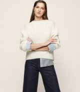 Reiss MEAGAN RIBBED CREW-NECK JUMPER OFF WHITE / casual chic knits