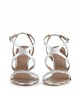 REISS MEDEA CROSS-FRONT SANDALS SILVER / strappy metallic shoes