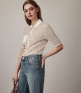REISS MERCER KNITTED POLO SHIRT NEUTRAL / effortless casual style