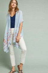 ANTHROPOLOGIE Meredith Embroidered Kimono | sheer blue kimonos | lightweight floral jackets