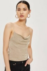 Topshop Metal Yarn Cowl Neck Camisole Top | slinky gold cami