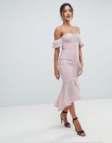 Missguided Bardot Bodycon Midi Dress – dusty pink frill hem dresses