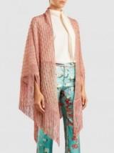 MISSONI Metallic-Pink Crochet-Knit Shawl ~ luxe fringed shawls