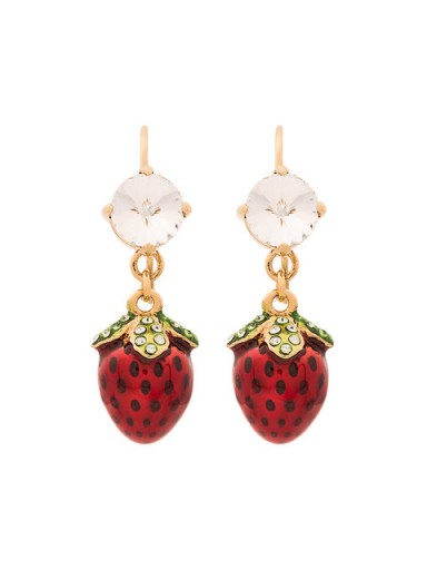 MIU MIU crystal strawberry earrings / fun fruit themed jewellery