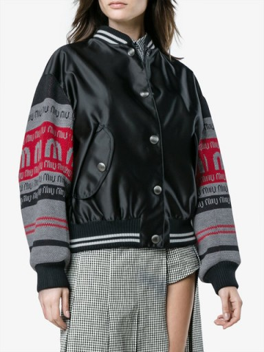 MIU MIU knitted logo sleeve bomber jacket | casual black jackets