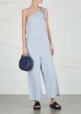 MM6 BY MAISON MARGIELA Pale blue one-shoulder denim jumpsuit ~ loose fit wide-leg jumpsuits