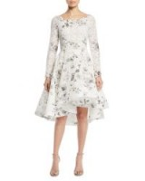Monique Lhuillier Bateau-Neck Long-Sleeve Shadow-Print Floral-Lace Cocktail Dress ~ white fit and flare dresses