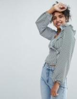 Monki Stripe Ruffle Wrap Blouse – ruffled blouses – spring tops