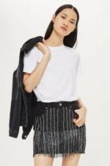 MOTO Dazzle Fringe Skirt. CRYSTAL FRINGED DENIM SKIRTS