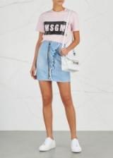 MSGM Blur ruffled-trimmed denim skirt ~ ligh-blue asymmetric ruffle skirts