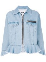 MSGM zip-up denim jacket with frill trims | peplum hem jackets