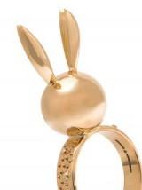 NATASHA ZINKO bunny head and ears ring / cute rabbit jewellery / 18ct gold rings