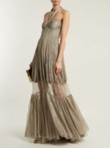 MARIA LUCIA HOHAN Nerisse metallic khaki-green pleated-silk and lace dress – sheer panel halter gowns ~ long luxe event dresses