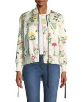No. 21 Floral-Print Satin Bomber Jacket ~ silky white jackets