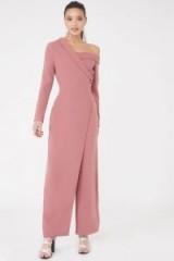 LAVISH ALICE Off the Shoulder Wide Leg Jumpsuit – pink asymmetric cut jumpsuits