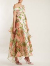 RICHARD QUINN Off-the-shoulder floral-print duchess-satin dress ~ feminine pink and green event gowns
