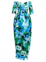 RICHARD QUINN Off-the-shoulder floral-print duchess-satin gown ~ vintage style bardot gowns ~ bold blue flower prints
