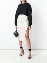 OFF-WHITE Floral Print Here side slit midi skirt   slogan printed skirts