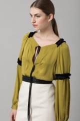 AMANDA WAKELEY OLIVE GREEN SATINISED GEORGETTE TOP