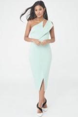LAVISH ALICE One Shoulder Midi Wrap Dress – mint-green pastel dresses