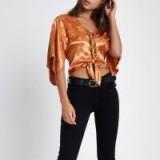 River Island Orange satin jacquard cape sleeve tie top – silky kimono sleeved tops