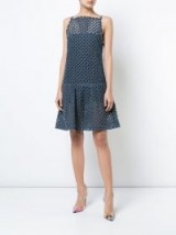 OSCAR DE LA RENTA perforated denim dress | luxe drop hem dresses