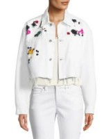 Oscar de la Renta Splatter-Embroidered Denim Jacket ~ frayed white cropped jackets