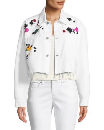 Oscar de la Renta Splatter-Embroidered Denim Jacket ~ frayed white cropped jackets