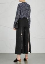 OSMAN Black studded zipped back leg cropped jeans