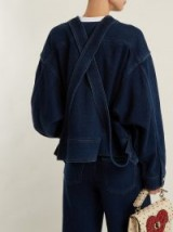 VALENTINO Oversized cotton-denim jacket ~ collarless jackets