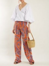 ETRO Palazzo paisley-print silk-crepe trousers ~ chic wide leg summer pants