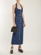 KATHARINE HAMNETT Pam halterneck denim dress ~ 70s halter style dresses