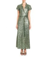 Pascal Millet Short-Sleeve Notched-Collar Sequin Wrap Evening Gown ~ metallic-green event dresses