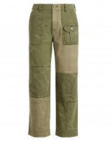 POLO RALPH LAUREN Patchwork Cotton Chino Pant ~ khaki-green patch chinos