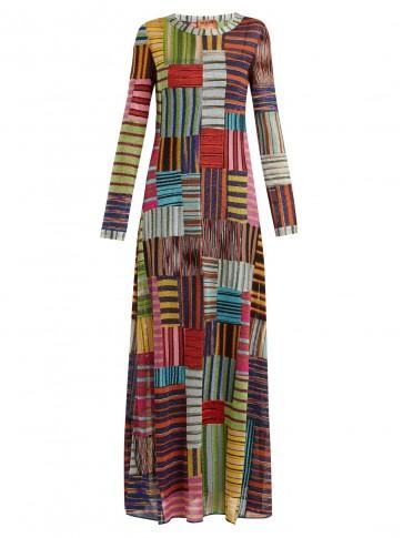 MISSONI Patchwork Lamé round-neck dress ~ long metallic dresses
