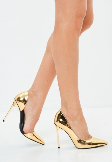 peace + love gold metallic pointed court heels – glamorous shiny courts