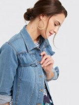 DRAPER JAMES Peplum Denim Jacket | ruffle trim jackets