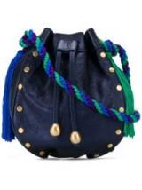 PHILOSOPHY DI LORENZO SERAFINI blue leather tassel bucket mini bag | small luxe bags