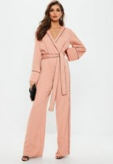 missguided pink contrast piping pyjama wrap jumpsuit | vintage style jumpsuits
